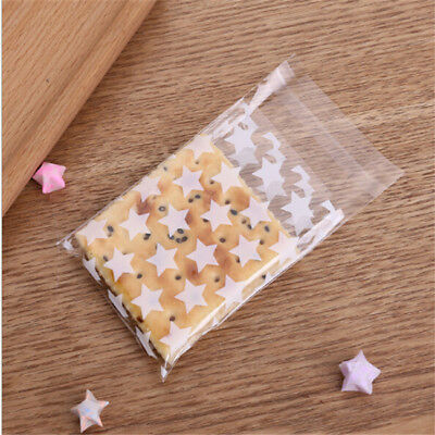Clear White and Gold Little Five-Pointed Star Pattern Self-adhesive Gift Bag BM