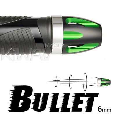 Aluminum bar ends Bullet green silver base 6mm bolt-on for Piaggio BV X9