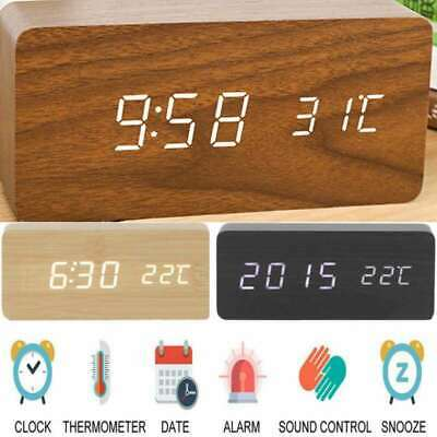 Led Voice Control Wooden Clocks Alarm Clock Lcd Display White Backlight Snooze