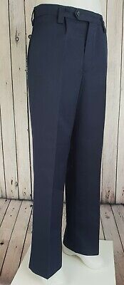 Vtg 1960s Blue Pleated Bootcut Wool Button Fly Trousers   W32 L31 JZ98