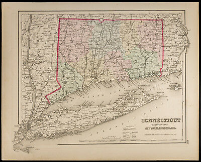 Antique Map [1857, Colton] : Connecticut & New York & Rhode Island. USA