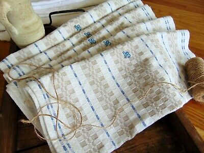 Antique Unused Hand Woven Weave Organic Linen Country Kitchen Towel Db Monogram