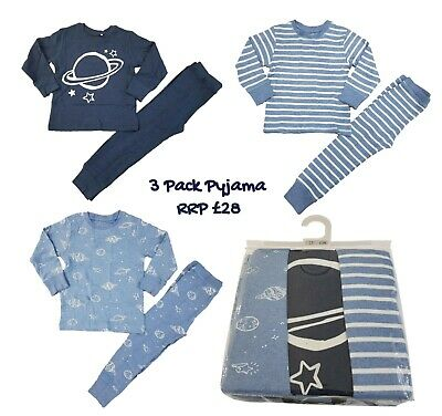Ex N-XT Boys Pyjamas 3 Pack PJs PJ Set Long Sleeve Snuggle Fit Kids RRP £26 BNWT