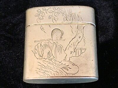 Antique Chinese Paktong & copper engraved metal box flautist foo dog calligraphy