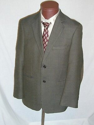 STAFFORD Brown Houndstooth Plaid Wool Sport Coat Jacket 40 R Classic Fit - EUC