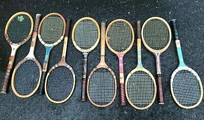 A Lot of Ten Used Vintage Wood Tennis Rackets