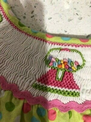 Girls smocked dress Size 4  back to school pink green white