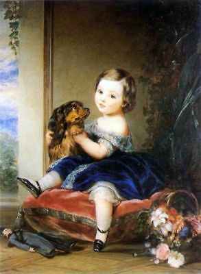 LMOP867 little girl with her dog&dolls&flowers hand art oil painting on canvas