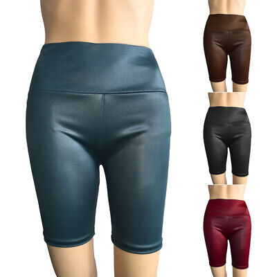 Damen Hohe Taille Kunstleder Shorts Damen Lack-Optik Yoga Sport Hotpants Shorts