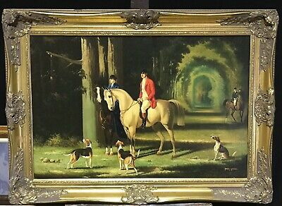 Very Large 20Th Century Oil Painting - Huntsman And Hounds In Woods - Signed