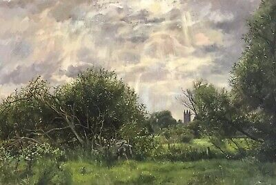 Fine English Impressionist Oil Painting On Canvas - Sunlight Through Fields