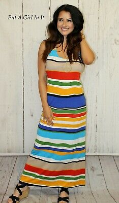 SALE BLUE MINT AQUA COLOR STRIPED BOHO MAXI SUNDRESS RACERBACK TANK DRESS S M L