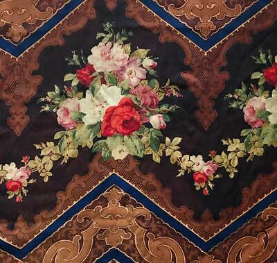 BEAUTIFUL 19th CENTURY FRENCH BLOCK PRINTED ROCOCO MOHAIR c1860s, ROSES 402