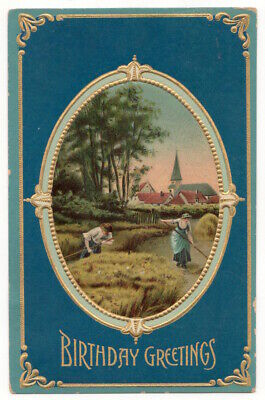Birthday Greetings c1910 farmers, rural scene, Church, vintage embossed postcard
