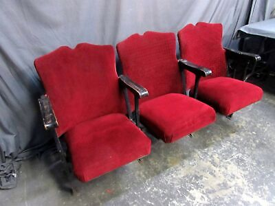 3 VINTAGE 1920's Art Deco Cast Iron Movie Theater Seats/Opera House Chairs