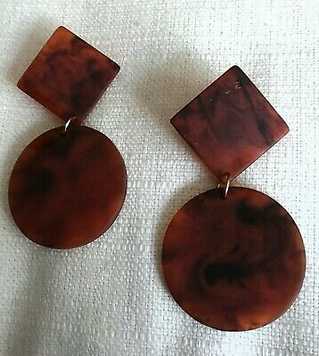 Mid Century ABSTRACT Dangle Earrings TORTOISE BROWN Vintage SO UNIQUE