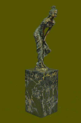 Vintage Bronze Bookend Sculpture Art Deco Figurine Sign Art Figure Marble Milo