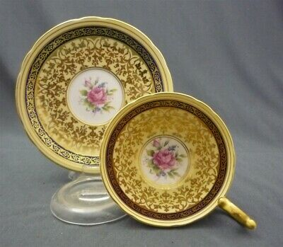 Wide Aynsley England Bone China Pink Roses Tea Cup & Saucer Duo Yellow Blue Gold