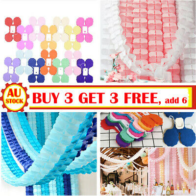 3M Tissue Paper Garlands Bunting Party Wedding Baby Shower Decorations EASY