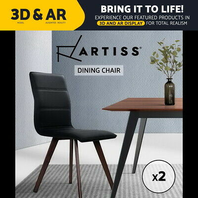 Artiss Dining Chairs Retro ChairMetal Legs High Back Kitchen PU Leather Black x2