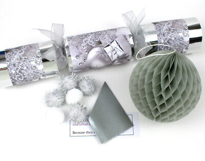 OFFER - 4 'Silver Christmas' Filled Crackers | Handmade Table Crackers