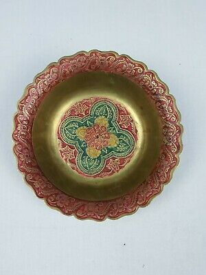 Indian Brass Bowl Floral Handmade Indian Red and Green Colors 6.5 inch Diameter