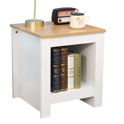 White+Oak Wooden End Table Small Rectangular Coffee  Side Table Bedroom Lounge
