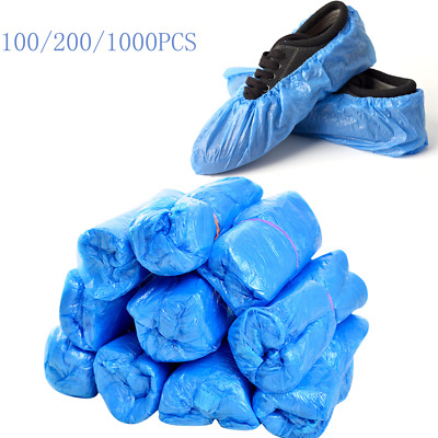500 1000 Disposable Shoe Cover Overshoes Anti Slip Plastic Cleaning Boot Safety