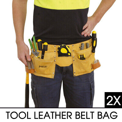 2X CASE TOOL LEATHER BELT BAG for Carrying Hammer Measuring Tape Adjustable New