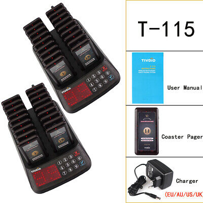 2*TIVDIO 99Channels Paging restaurant Waterproof Guest Call System+36*Pagers UK
