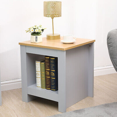 Grey+Oak Wooden End Table Small Rectangular Coffee  Side Table Bedroom Lounge