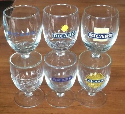 Lot De 6 Verres Ricard Differents Ballon 17 Cl Logo Colector Assortis Bar N°1