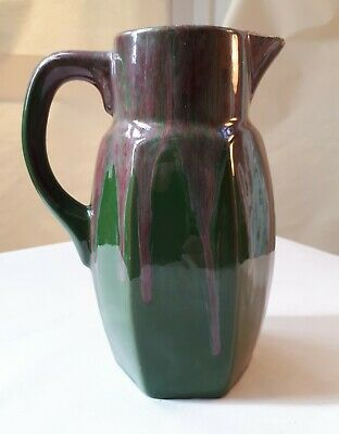 Antique c1905 English Arts & Crafts Glazed Pottery Pitcher/ Jug. Green-Dominant
