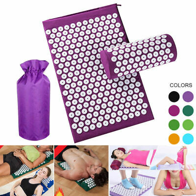 Acupressure Mat Head Neck Back Foot Massage Cushion With Pillow Yoga Spike Mat