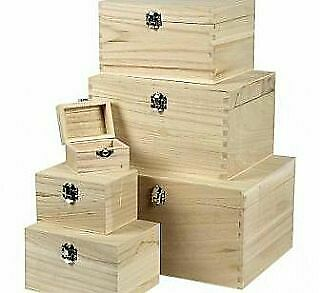 6 Assorted Light Wooden Stacking Boxes to Decorate for Crafts | Wooden Boxes