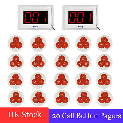2Pcs Wireless Calling Paging System Pagers Convenience for Restaurant  433MHz UK