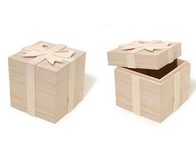 Small Wooden Untreated Gift Box with Bow to Decorate