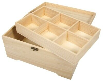 28cm Wood Casket or Chest with Internal Tray to Decorate for Crafts