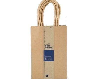5 Papermania Small Natural Brown Recycled Style Kraft Gift Bags