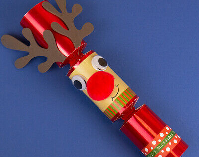 Single Red Foil Standy Uppy Rudolph Reindeer DIY Christmas Cracker Kit