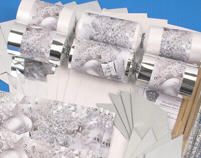 8 Silver Foil & Pearl White Silver Christmas Make & Fill Your Own Crackers Kit