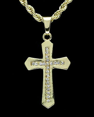 """Mens Icy Cz Cross 1.5"""" Pendant 14k Gold Plated 24"""" Rope Chain Hip Hop Necklace"""