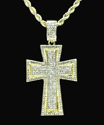 """Mens Iced Cz Cross Pendant 14k Gold Plated 24"""" Rope Chain Hip Hop Necklace"""