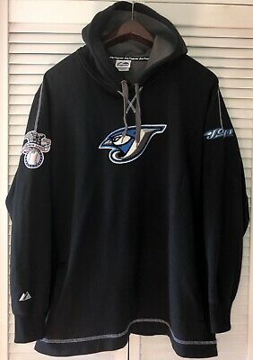 Majestic Toronto Blue Jays Heavy Hoodie Hooded Sweatshirt Mens Large L Black