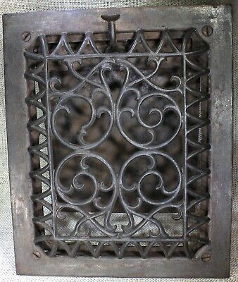 "Air old Heat grate wall raised front register 11 5/8 x 9 5/8"" Victorian louver"