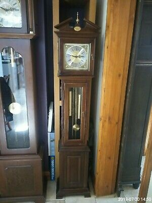 Vintage grandmother weight driven clock ting tang chimes