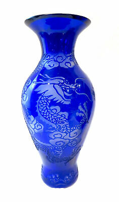 PEKING GLASS Cobalt BLUE Vase INCISED DRAGON Antique