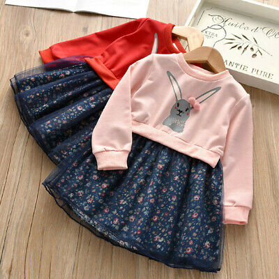 2-6T Winter Toddler Kids Baby Girls Bunny Princess Dresses Outfits Clothes Set