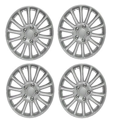 "14 Inch Universal Wheel Trims Car Covers Hub Caps Silver Plastic 14"" Set Of 4"