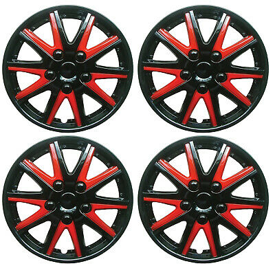 "15 Inch Universal Wheel Trims Car Caps Black Red Plastic 15"" Set Of 4"